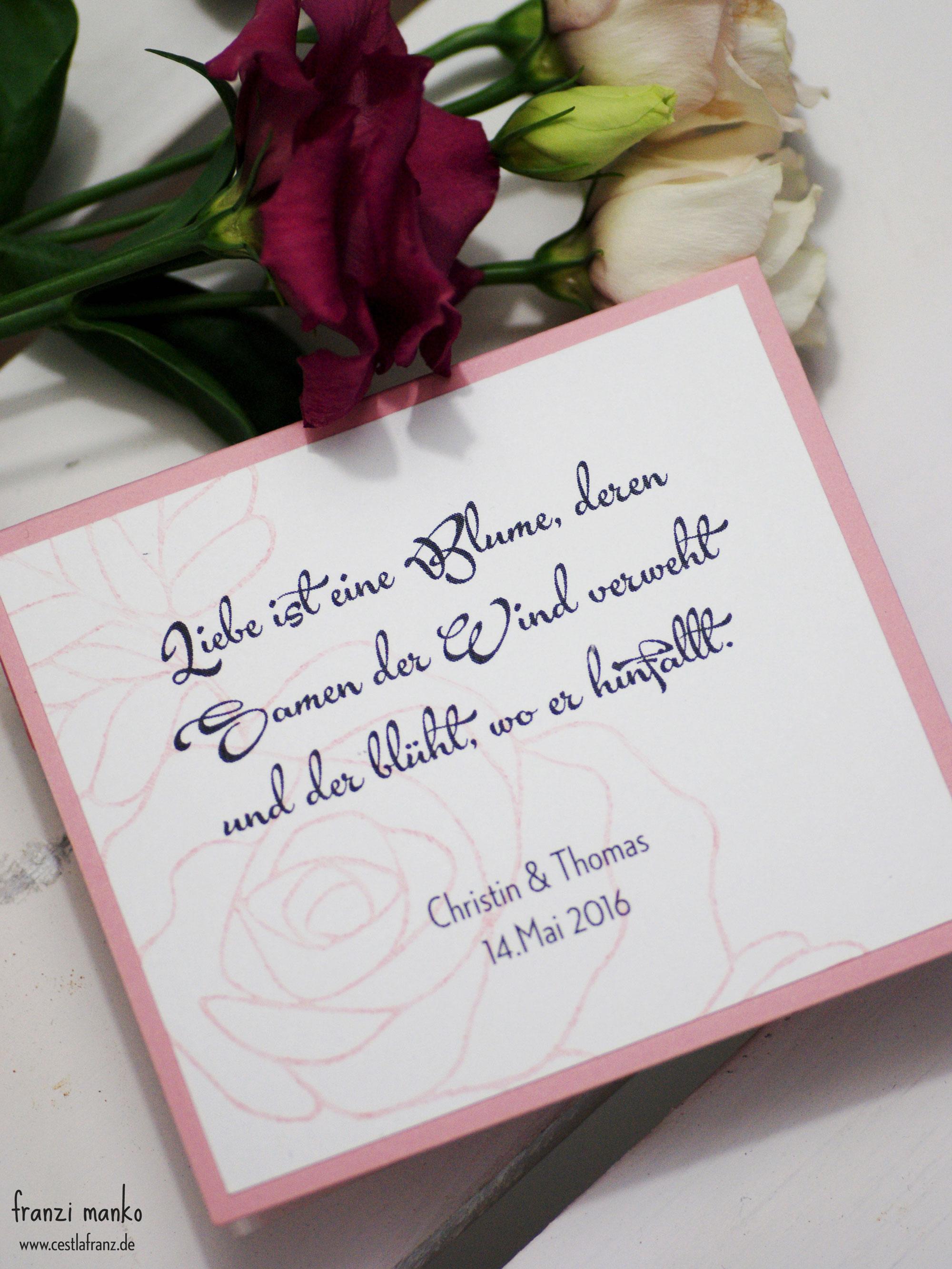 Hochzeitspapeterie Gastgeschenk Rosen