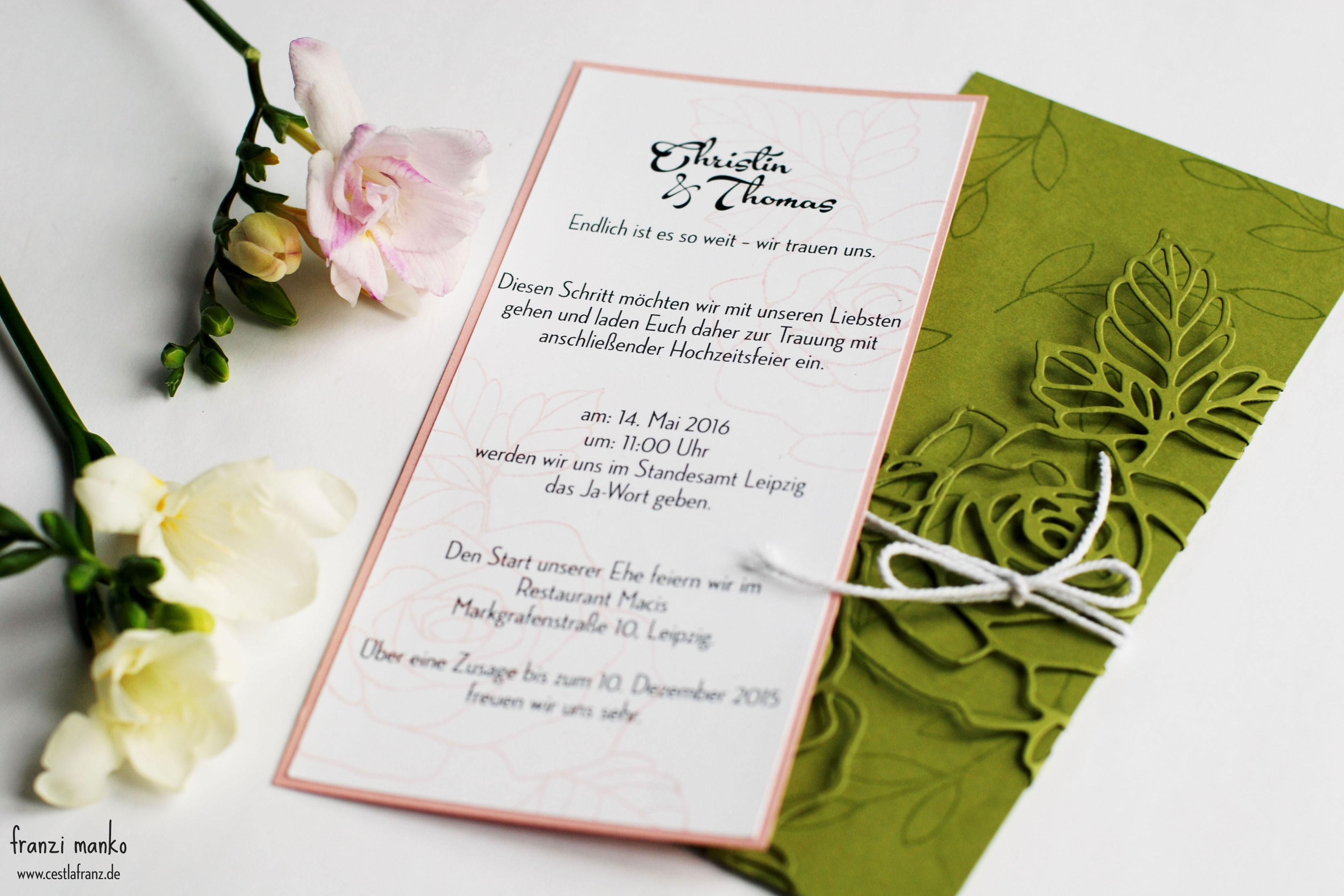 Hochzeitspapeterie Einladungskarte Rosen
