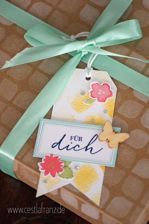 Geschenkanhänger aus Kartenset Malerische Grüße