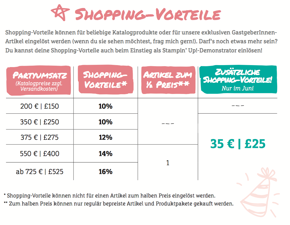 stampin up angebot extra shopping vorteile