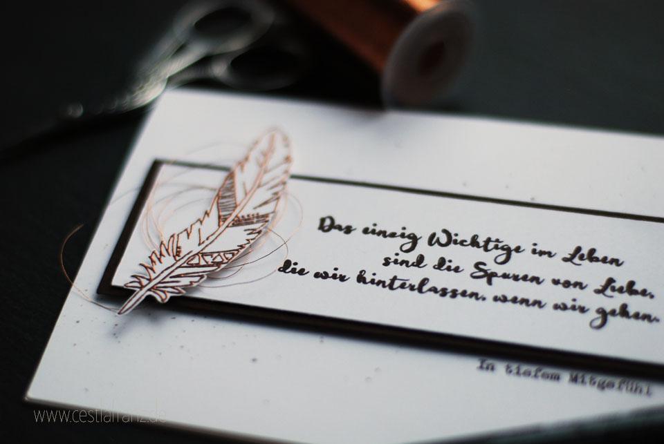 Mitgefühl Trauerkarte Moment Stempel Papier Projekt Mustermix Klartext Stempel unvergessen
