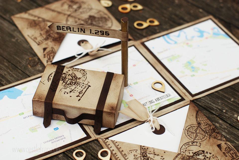 reisegutschein explosionsbox stampin up auf und davon world map