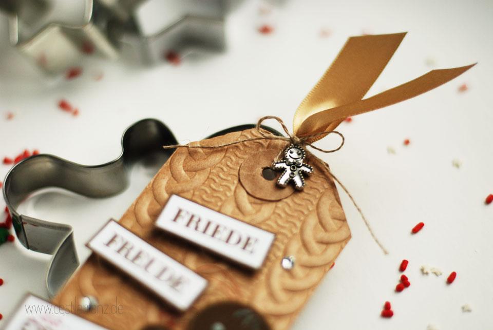 Tag Geschenkanhänger Lebkuchenmännchen Ausgestochen weihnachtlich Stampin up